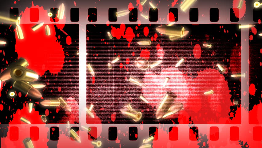 Violence in Movies Looping Animated Background With Old Footage Effects  - HD stock footage clip