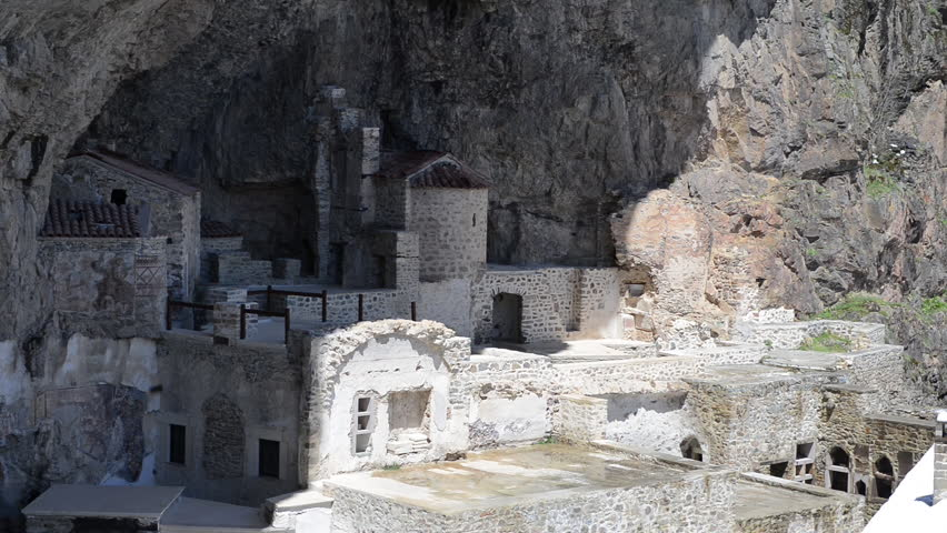 Ancient Mountain monastery. The Sumela Monastery is a Greek Orthodox monastery dedicated to the Virgin Mary at Melá Mountain within the Pontic Mountains range.