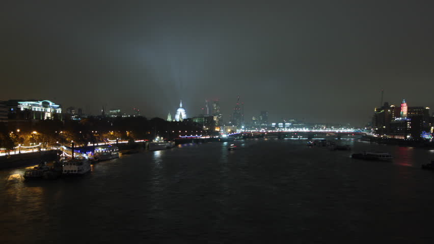 Time Lapse of London's Blackfriars Bridge with St. Paul's Cathedral, Oxo Tower and Savoy Hotel and Boat Traffic on River Thames, London, UK. http://en.wikipedia.org/wiki/OXO_Tower