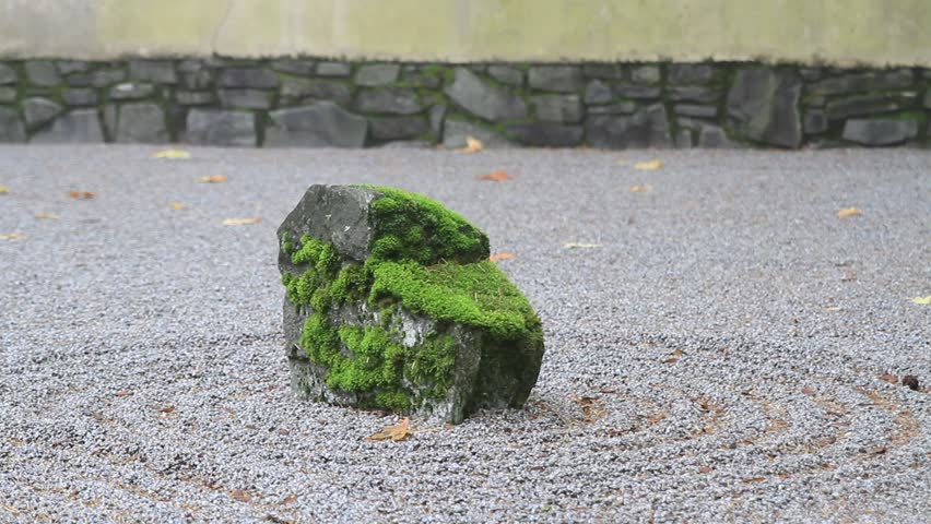 Japanese Flat Sand Garden in Portland Oregon One Foggy Early Autumn Morning 1080p Panning - HD stock video clip