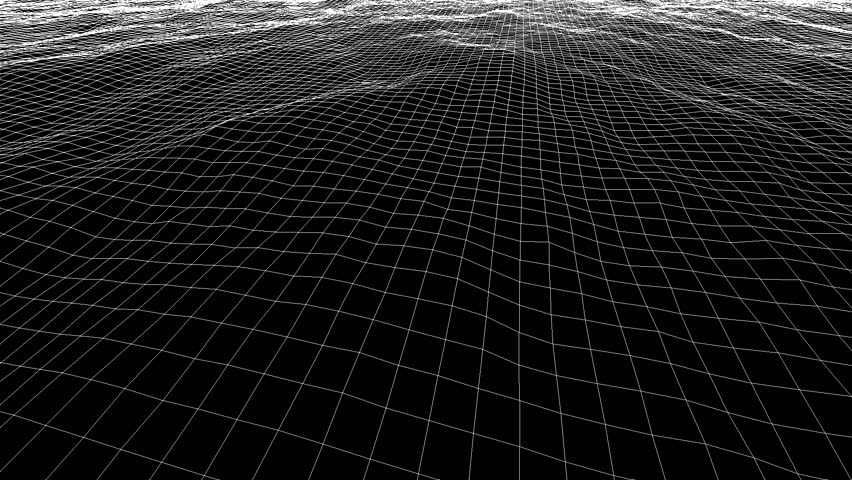 Wireframe Wave Background In Motion. Nice 3D Animation For Your Project Stock Footage Video