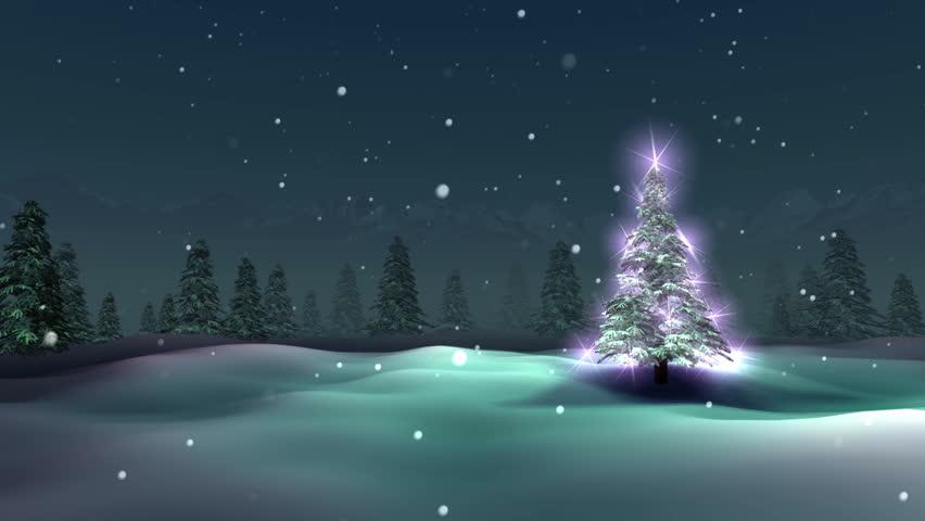 Christmas tree, snowy night, loop - HD stock video clip