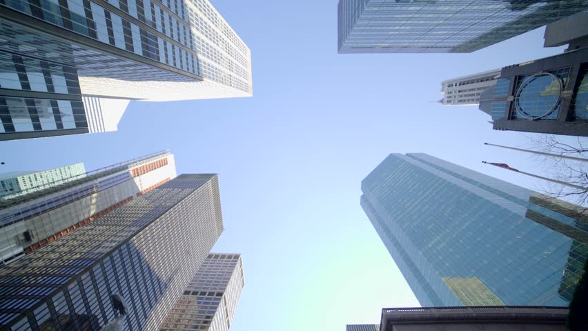 POV view of city skyline buildings. modern business district background. financial economy growth concept  | Shutterstock HD Video #16312117