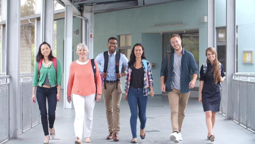 Group of smiling teachers walk in a corridor towards camera | Shutterstock HD Video #16356838