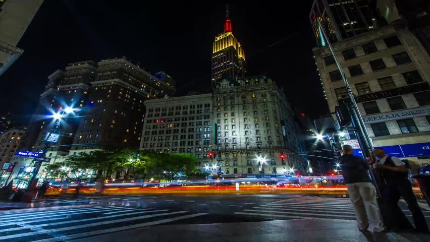 Time lapse of midtown Manhattan as people and traffic pass by at night. NX summer establishing shot.