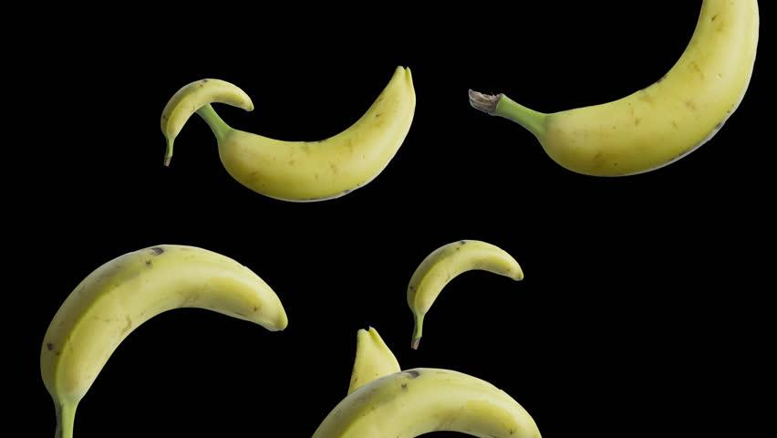 bananas falling alpha  - 4K stock video clip