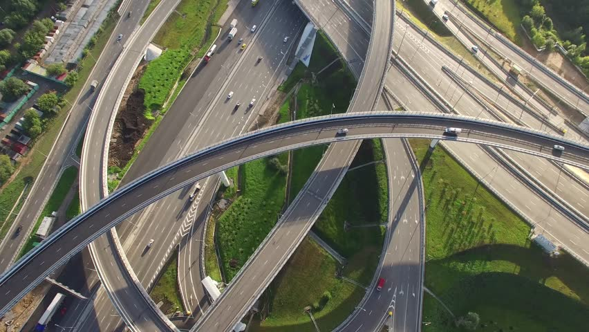 Unique flyover the complex road junction. Sunny day, sunset. Modern Russia. Moscow aerial high altitude drone flight. Ultrahd 4K. | Shutterstock HD Video #16386367