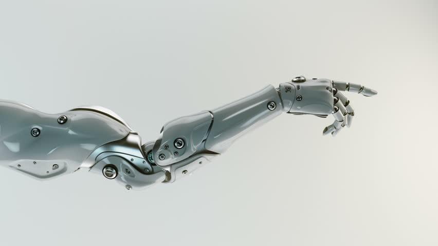 Gesturing robotic arm. 3d render