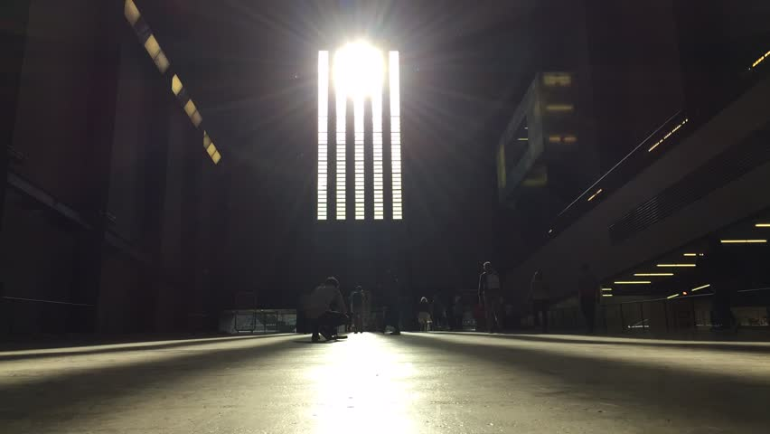 LONDON, UK - JUNE 16, 2015: (Time lapse) People inside the Turbine Hall in Tate Modern Art Gallery. Located in the former Bankside Power Station, in London, South Thames Embankment.  - HD stock footage clip
