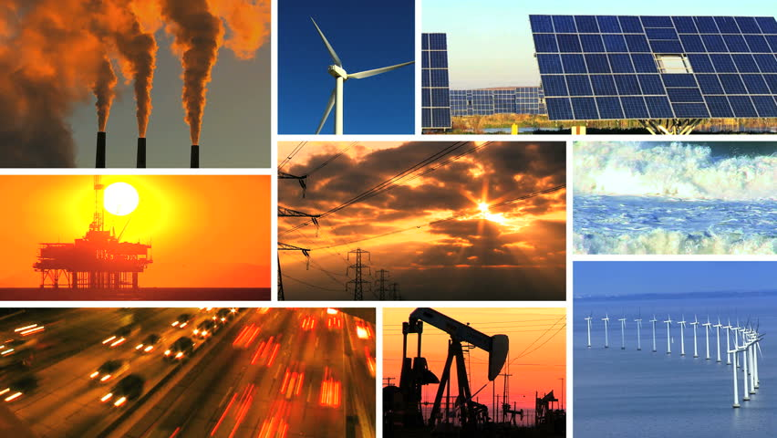 Montage of Renewable Energy & Fossil Fuel Pollution - HD stock video clip
