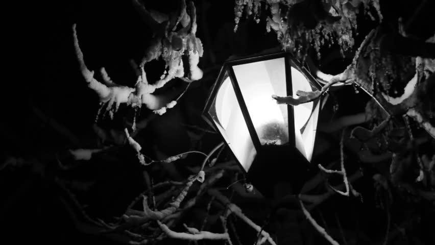 Night Winter Street Lamp snow is melting black and white footage - HD stock video clip