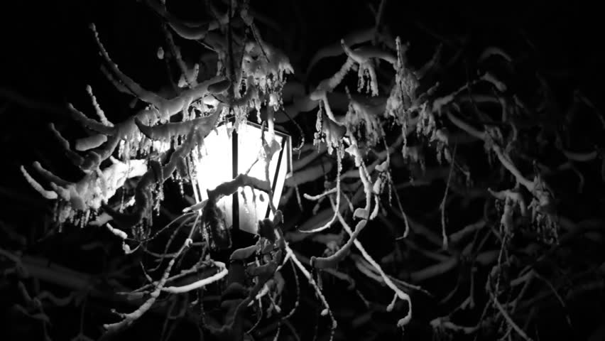 Night Winter Street Lamp snow is melting black and white footage 2 - HD stock video clip