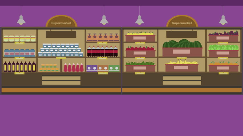 Cartoon Animation A Woman In A Supermarket She Buys Food