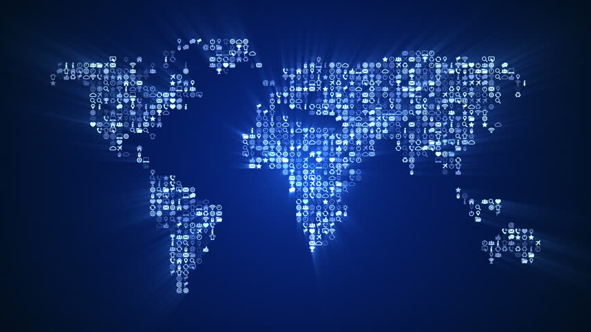 Bright blue technology background with world map series 3 version from 1 to 12 stock - World of color wallpaper ...