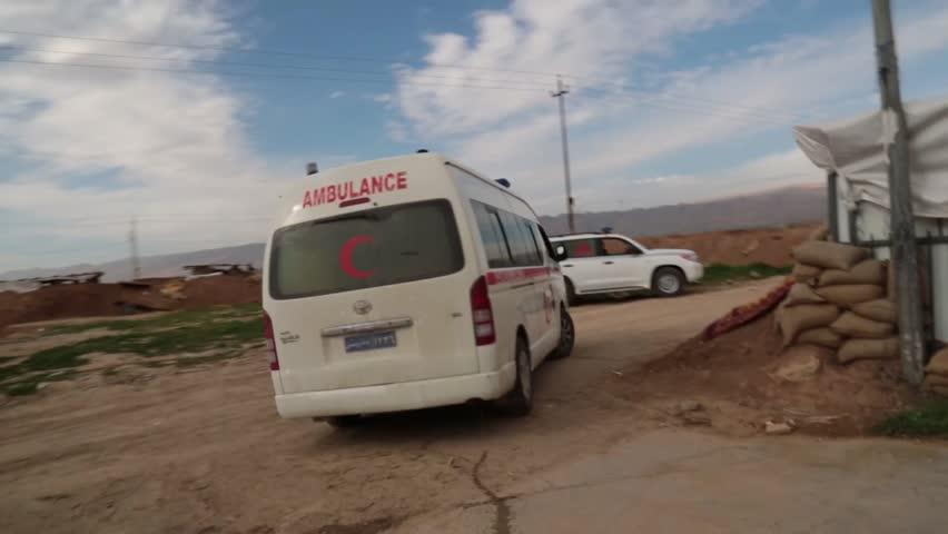 Iraq, February 2016:Iraqi ambulance driving off from the Kurdish frontline