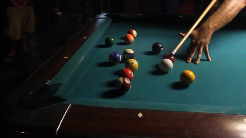 people playing pool in bar - HD stock video clip