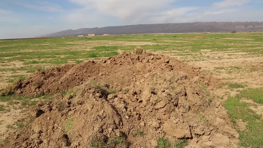 Iraq, February 2016: Right pan of a large field on the Kurdish Iraqi and ISIS border