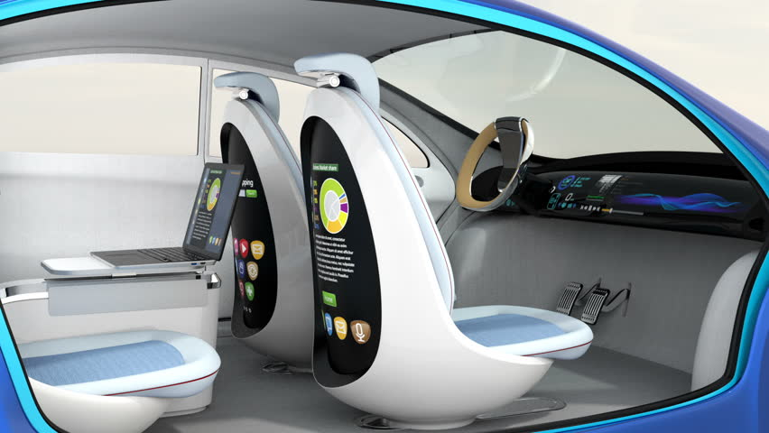 3D animation of autonomous car interior. Rotatable backrest equip with LCD monitor. | Shutterstock HD Video #16628143