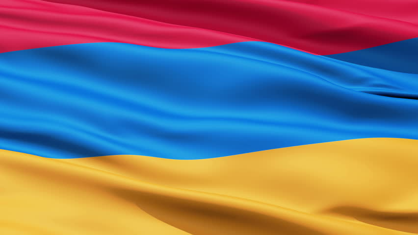 Waving Flag Of Armenia, a horizontal tricolor of red, blue and orange. - HD stock video clip