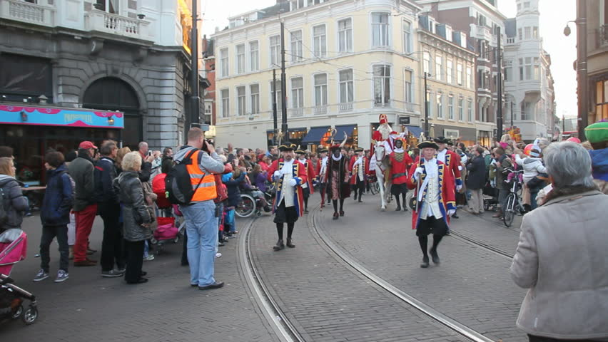 THE HAGUE, HOLLAND - NOVEMBER 12 - Santa Claus (Sinterklaas) arrives on his horse on November 12, 2011 in The Hague, Holland. Sinterklaas is a traditional festival for children in Holland. - HD stock video clip