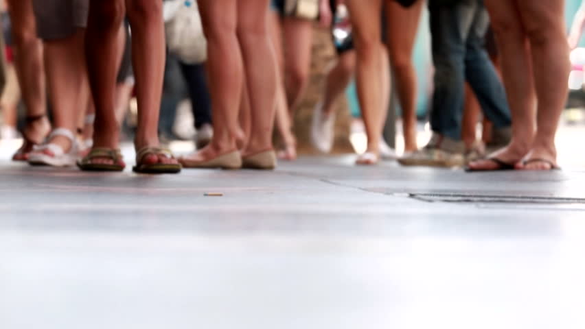 Los Angeles, California - USA - September, 2013: Hollywood pedestrians on sidewalk legs and feet only. | Shutterstock HD Video #16704076