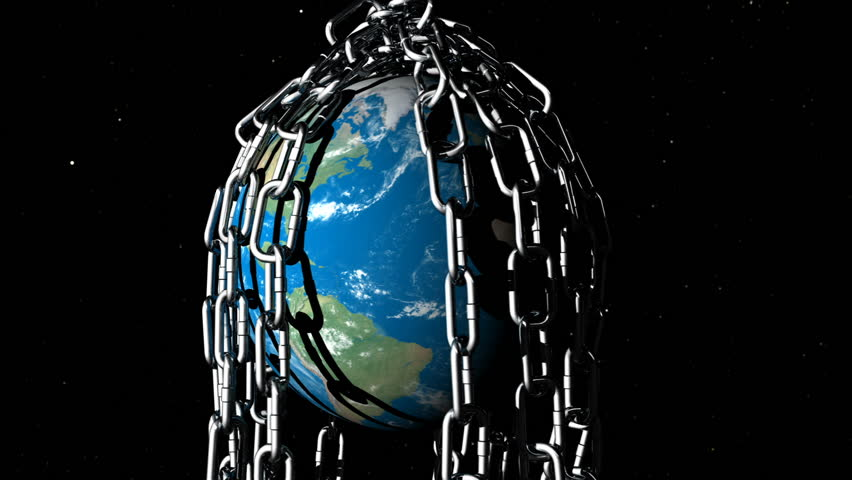 An animated planet Earth is rotating underneath various large metal chains symbolising the struggles of the planet.Version 1 | Shutterstock HD Video #16719223
