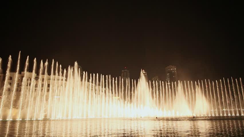 DUBAI, UAE - NOVEMBER 13: The Dubai Fountain in the Night on November 13, 2015 in Dubai, UAE. | Shutterstock HD Video #16729042