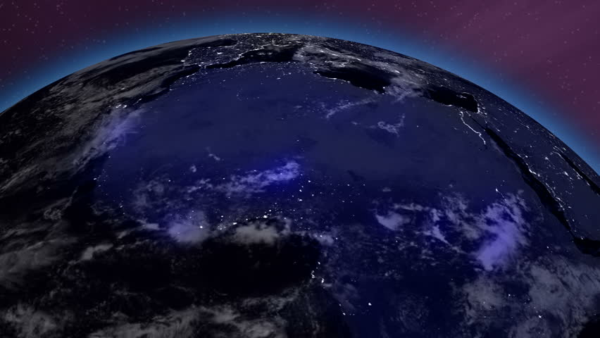 Earth from Space Lightstreaks over Africa view from outer space Satellite point of view - HD stock footage clip