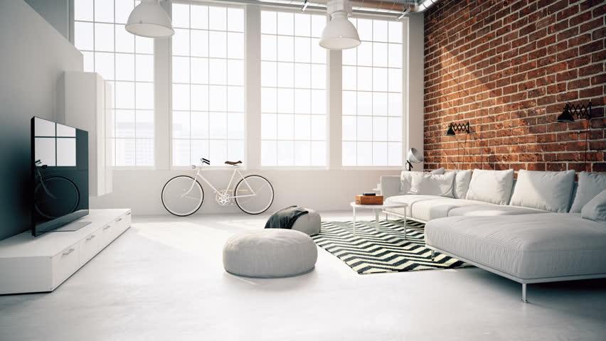3d rendering. modern living room in a loft.