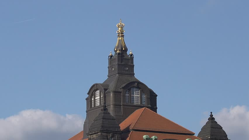 Crown on top of the Saxon State Chamber in Dresden Germany - HD stock footage clip
