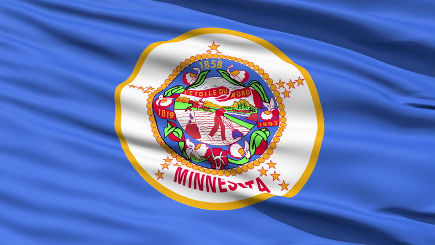 Waving Flag Of The US State of Minnesota with the official seal on a blue