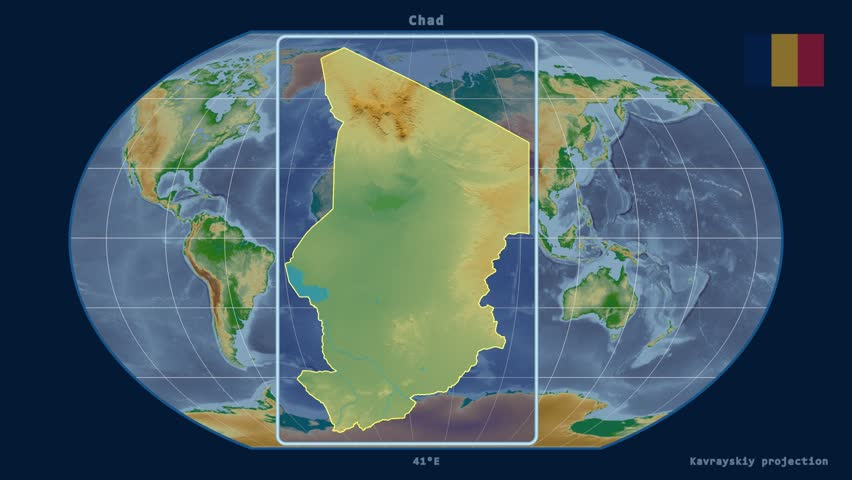 Zoomed-in view of a Chad outline with perspective lines against a global physical map in the Kavrayskiy VII projection | Shutterstock HD Video #16845655
