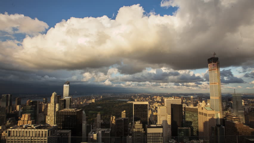 New York, USA - October 03, 2014: Time lapse shot of clouds moving over New York City, New York, USA | Shutterstock HD Video #16885777