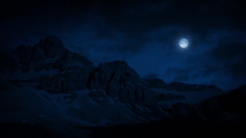 Mountains At Night In Moonlight - HD stock video clip