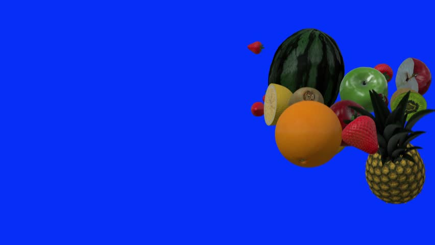 Fresh Fruits Falling on a Blue Background - HD stock video clip