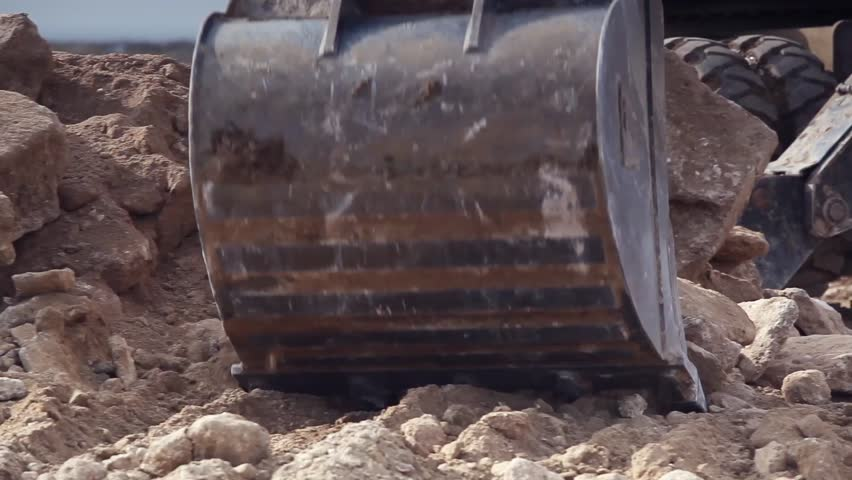 Close-up of excavator bucket - HD stock video clip