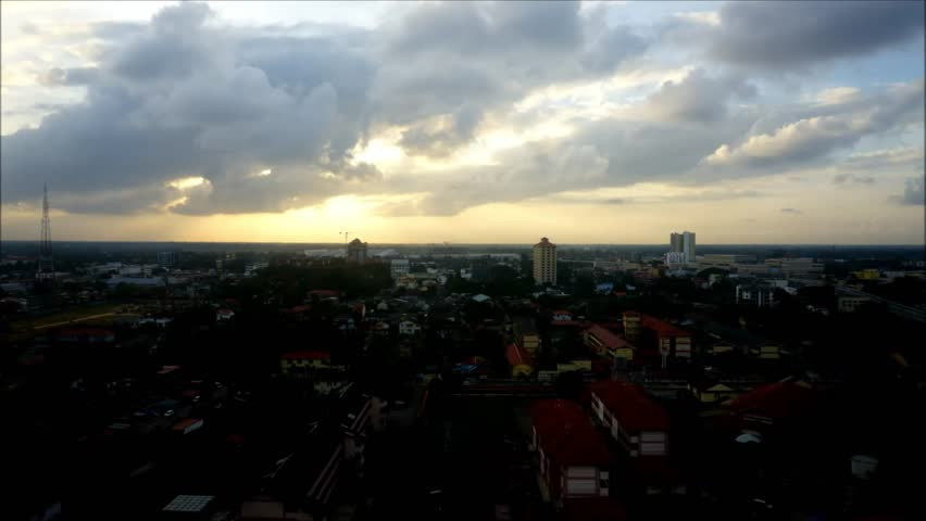 Sunset at kota bharu town view from above 4K | Shutterstock HD Video #16928779