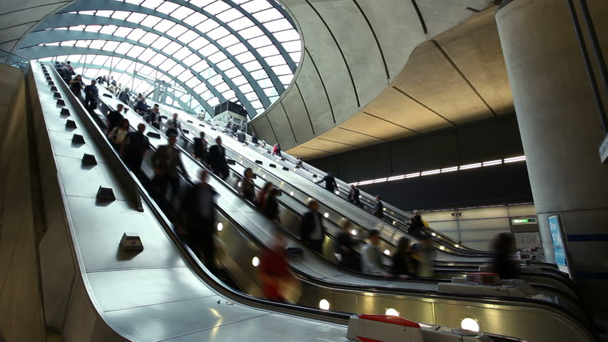 Escalator at the Canary Wharf Tube Station, London | Shutterstock HD Video #1693561