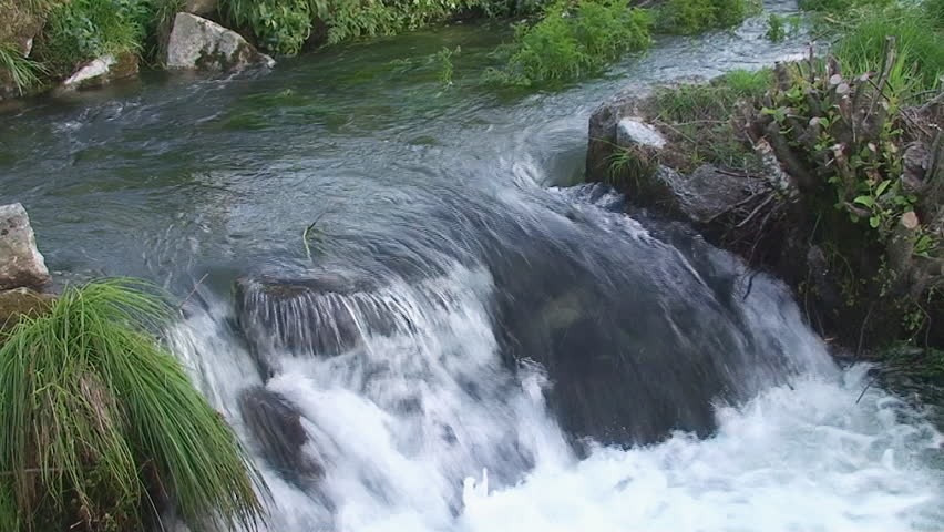Small Waterfall in river - HD stock video clip
