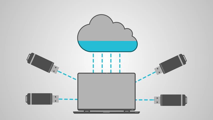 USB flash drives, USB stick memory, USB key and cloud computing, upload, download, data backup, corporate data. 4K flat animation. - 4K stock video clip