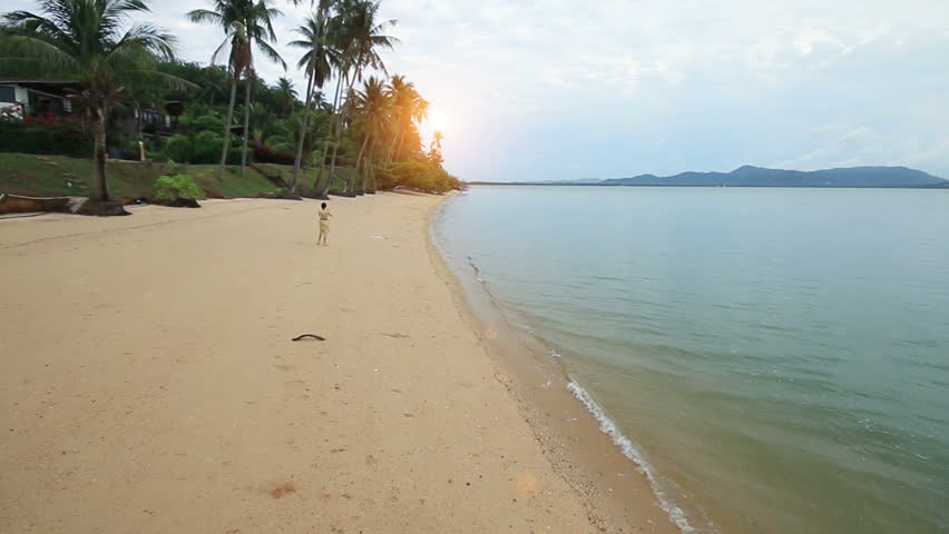 Woman taking a photo on sea beach and coconut tree.  - HD stock video clip