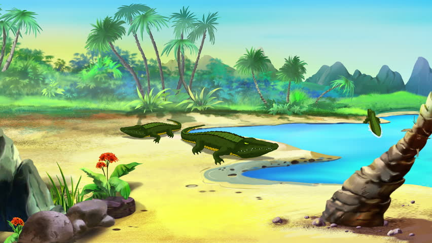low polygonal cartoon island stock footage video 7828066