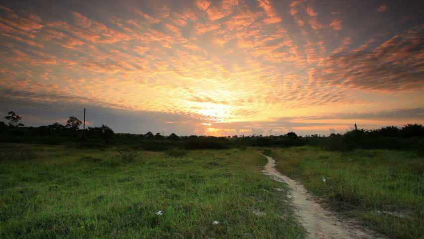 A sunrise near a village in Kenya two hours north of the African city Mombassa.