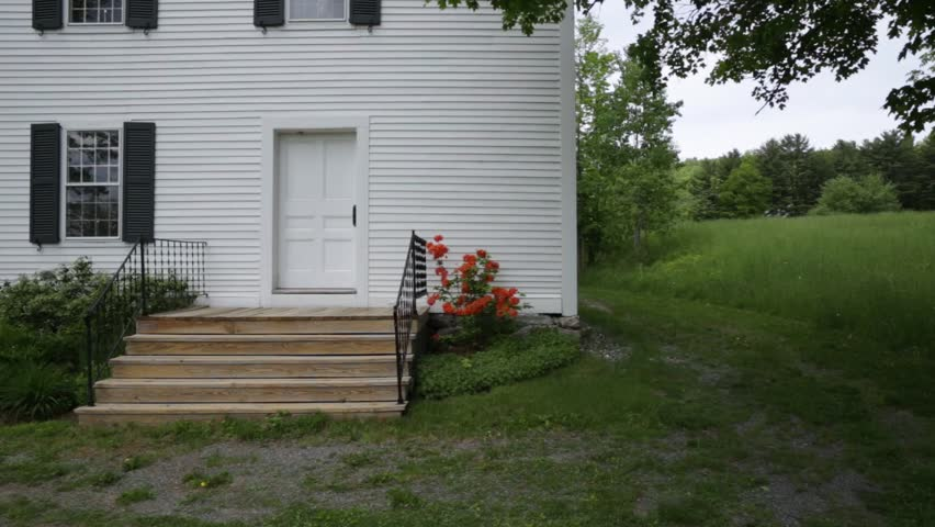 Historic old classic New England white painted wooden church in Etna, New Hampshire.