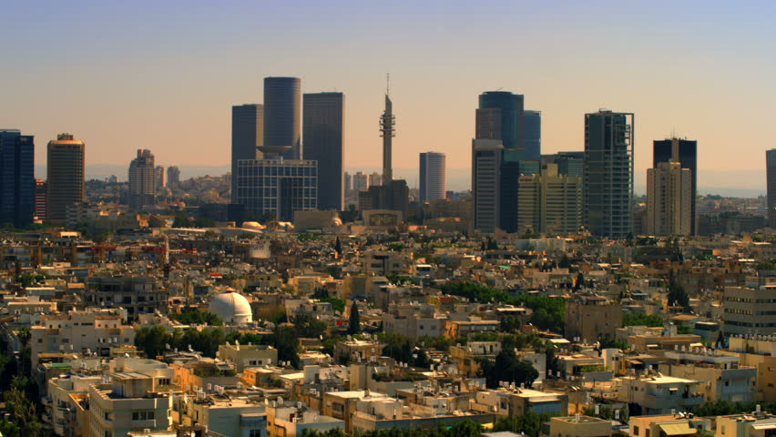 This is a static shot of the Tel Aviv Israel skyline looking east at about 9am. I was hoping to get an airplane to fly through the shot but no luck.  It is a very nice shot of the skyline.  | Shutterstock HD Video #1706422