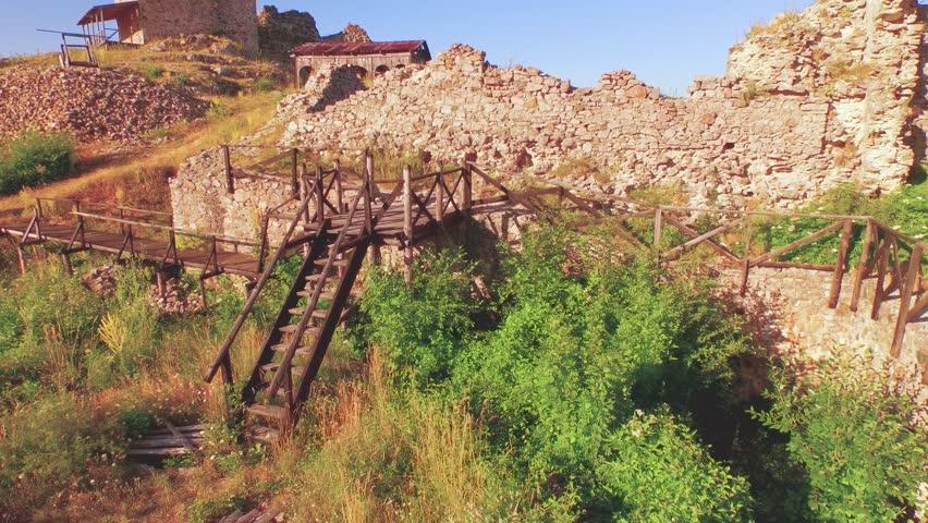Aerial shot of fortress Koznik / 4k - 4K stock footage clip