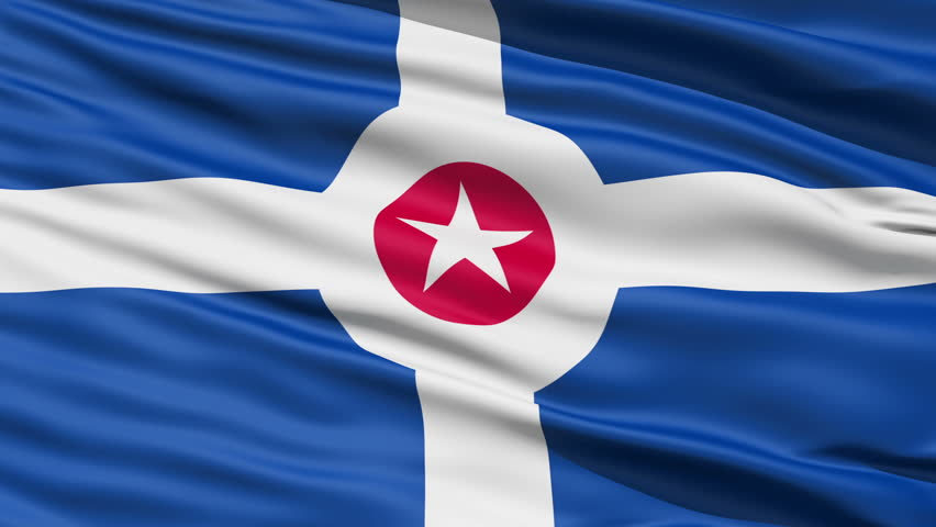 Indianapolis Waving American State Capital City Flag Animation