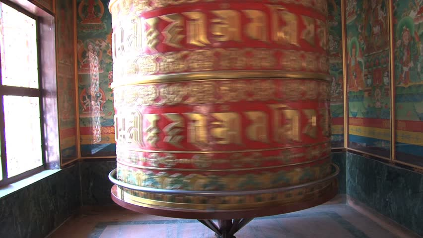 View of prayer wheel at Boudha Stupa - HD stock footage clip