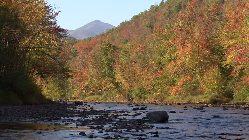 Shallow stream flanked by hills of trees with colorful leaves - HD stock video clip