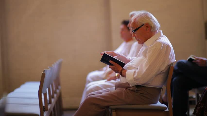 DENMARK - JULY 2010: Elderly man in church in Copenhagen, Denmark - HD stock footage clip